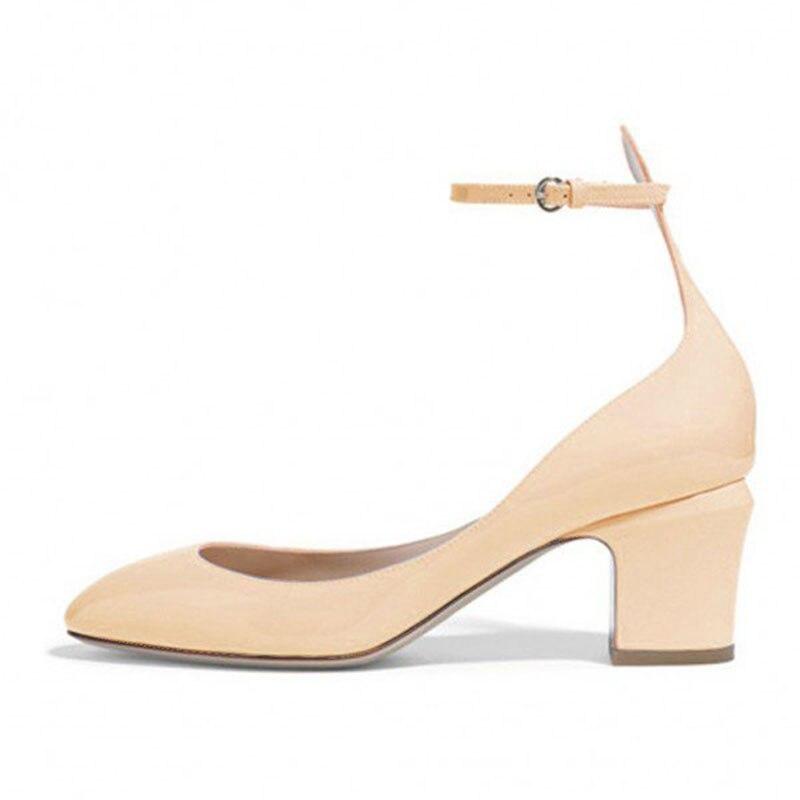 Bomba Fsj01 Mujeres De Shoes41 43 Redonda Tobillo Damas Zapatos Correa Punta Tacones Otoño Nude 42 Bloque Heel Señoras Tamaño Primavera Más 2018 q1Cwr1E