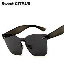 CÍTRICOS dulces de Lujo Marca Sin Montura gafas de Sol Cuadradas de Las Mujeres Los Hombres Del Diseñador de Gran Tamaño Gafas de Sol de La Vendimia gafas de sol mujer hombre