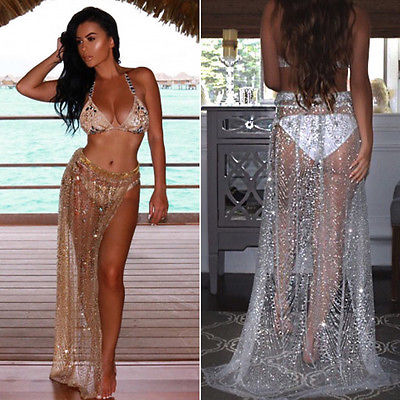 b9b4ca6b3c62 Detail Feedback Questions about 2018 Women s Bathing Suit Lace Up Crochet  Bikini Cover Up Swimwear Summer Beach Gold Silver Sequins Dress on  Aliexpress.com ...