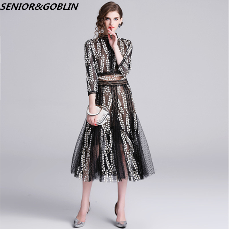Newest 2019 High Quality Luxury Runway Designer Party Dress Women Spring And Autumn Mesh Embroidery Sexy Long Dresses S-XXL