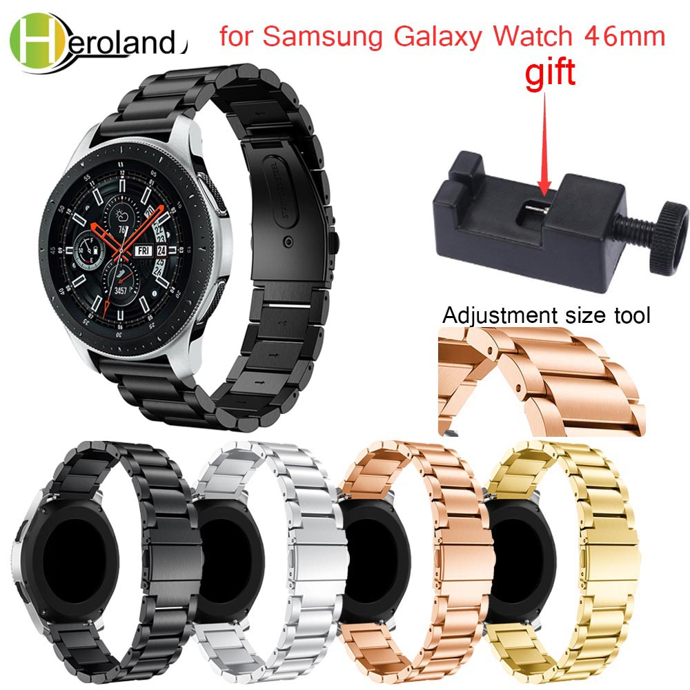 22mm Watch Strap Stainless Steel For Samsung Galaxy Watch 46mm Metal Watchband For Samsung Gear S3 Classic Frontier Watchstraps silicone sport watchband for gear s3 classic frontier 22mm strap for samsung galaxy watch 46mm band replacement strap bracelet