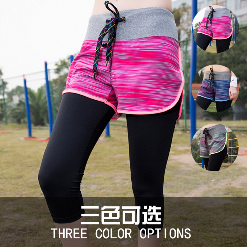 Vertvie Elastic Fitness Tights Fake 2 Pieces Women Three Quarter Length Pants Gym Sports Yoga Leggings Running Pants Compression