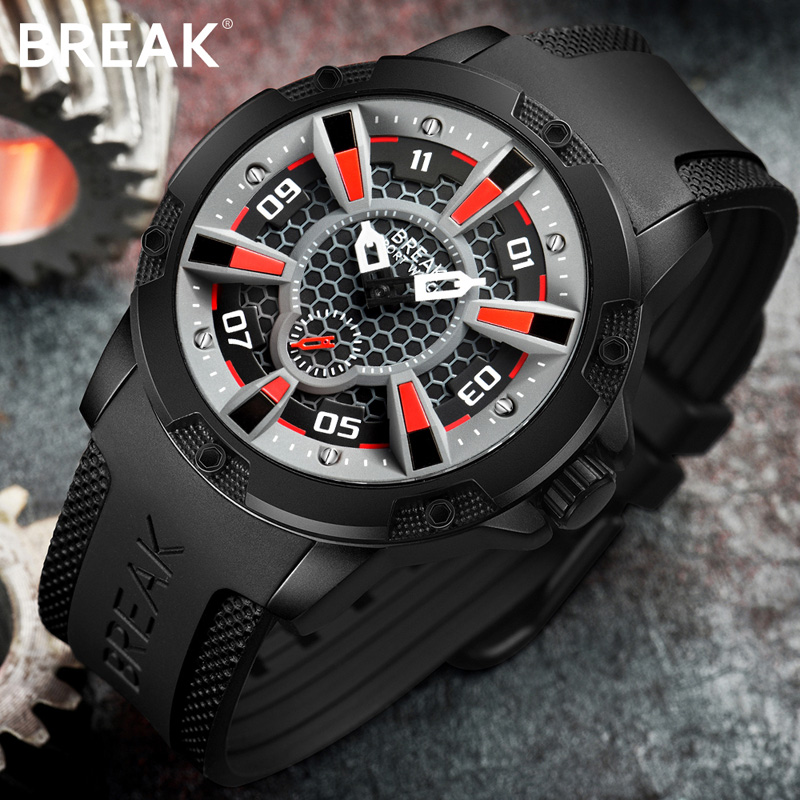 BREAK Watch Men Casual Fashion Luxury Top Brand Sport Rubber Starp Wristwatch Man Quartz Army Waterproof reloj Military Watches