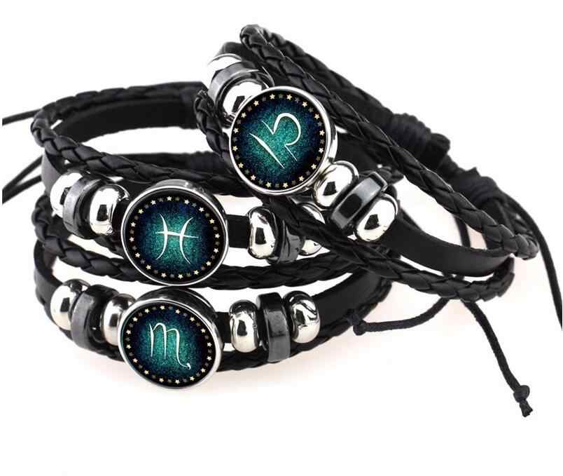 Hot Virgo/Sagittarius/Aquarius/Scorpio/Libra/Capricorn 12 Constellation Bracelet Men Women Braided Leather Bracelets & Bangles