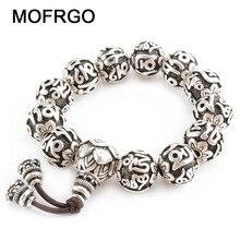 Bracelet Vintage en laiton plaqué argent, breloque de Yoga pour hommes, Six mots, Sculpture de Mantras, perles de prière
