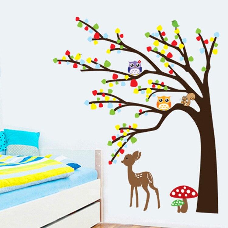 Owls Jungle Animals Wooden Bedroom Furniture Kids: Animals Tree Wall Stickers For Kids Room Deer Owl Jungle