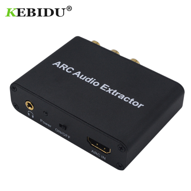 Kebidu HDMI ARC Audio extracteur 3.5mm stéréo Fiber coaxiale Audio adaptateur convertisseur pour amplificateur barre de son haut parleur HDTV