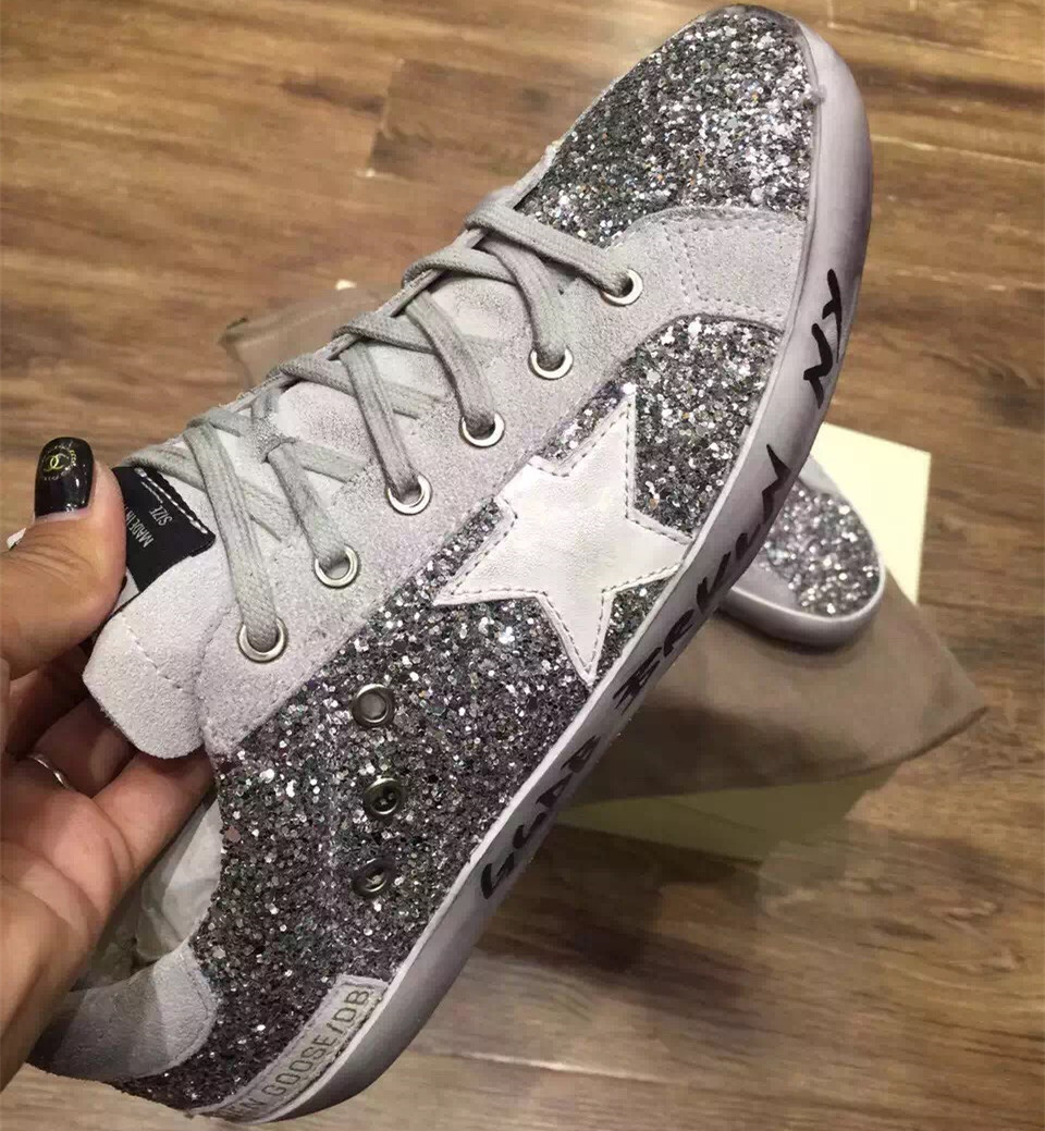 2015 New Arrival Silver Glitter Golden Goose Brand Superstar