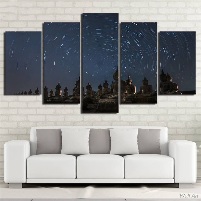Hd Printed 5 Piece Canvas Art Buddha Painting Starry Sky Wall Pictures For Living Room Home Decor Free Shipping -92602-YP