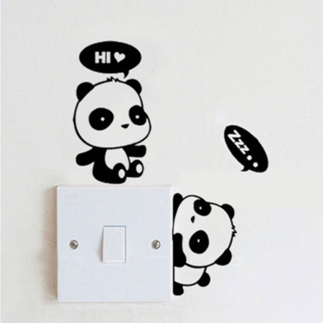 1X Panda Switch Sticker Room Wall Stickers Cute Glass Notebooks Bathroom  Stickers Decorated Removable Decoration Wall