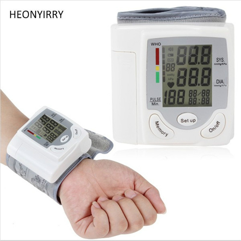 Wrist Blood Pressure Monitor Portable Automatic Digital LCD Device Heart Beat Rate Pulse Display Meter Measure Tonometer White 1