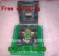 Frete grátis CHIP PROGRAMADOR SOCKET TQFP44 QFP44/PQFP44 TO DIP40 adaptador apoio tomada MCU-51 chip