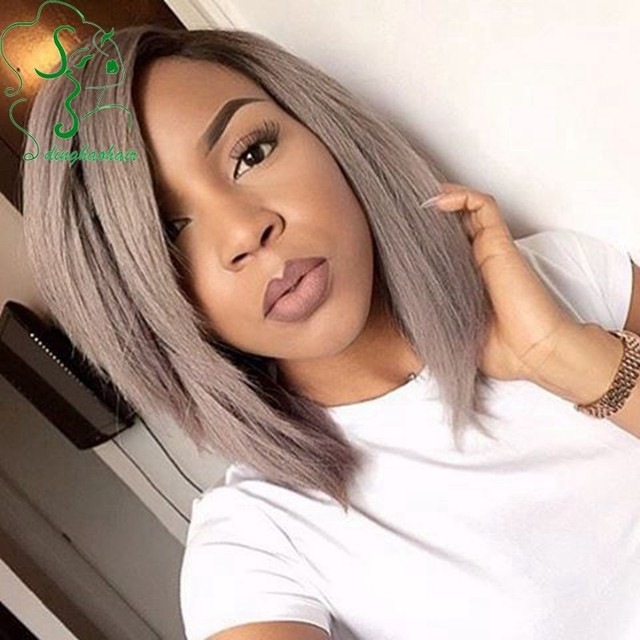 Free Shipping 8a Dark Roots 1b Grey Hair Ombre Lace Front Wig