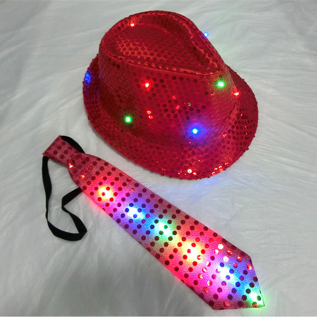 7212c903804 Adult Size 58cm Sequins Party Flashing Hat Light Up Fedora Hats for Party  Dancing Night Events