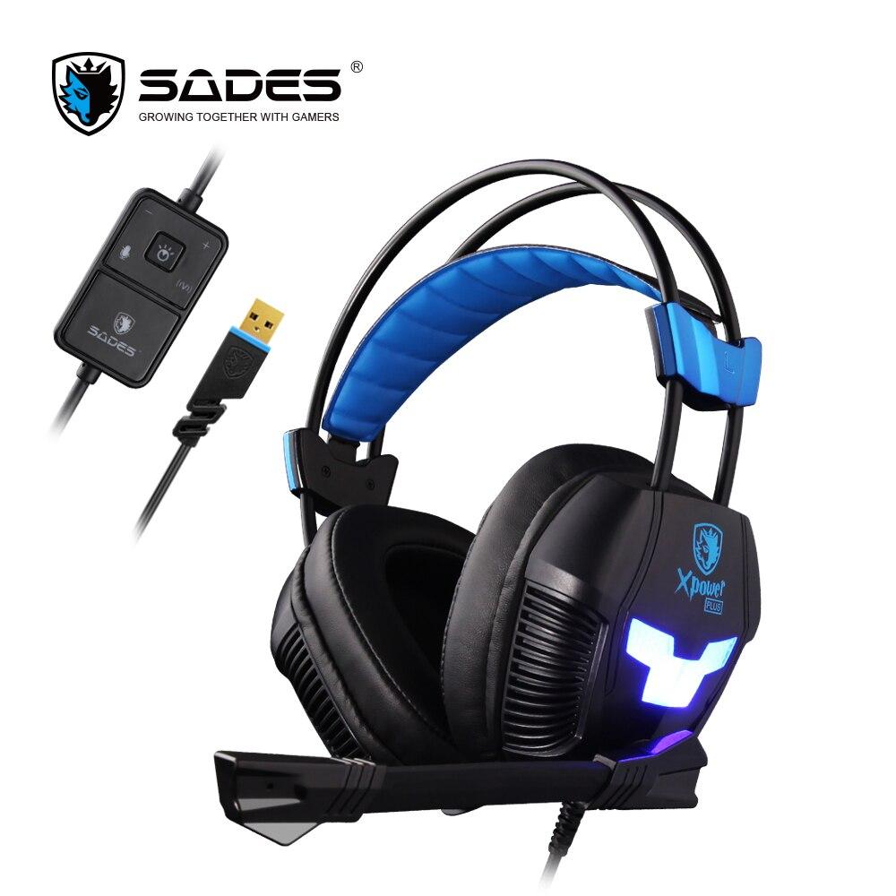 SADES Xpower Plus Gaming Headset Gamer auriculares estéreo sonido envolvente 2 niveles vibración LED