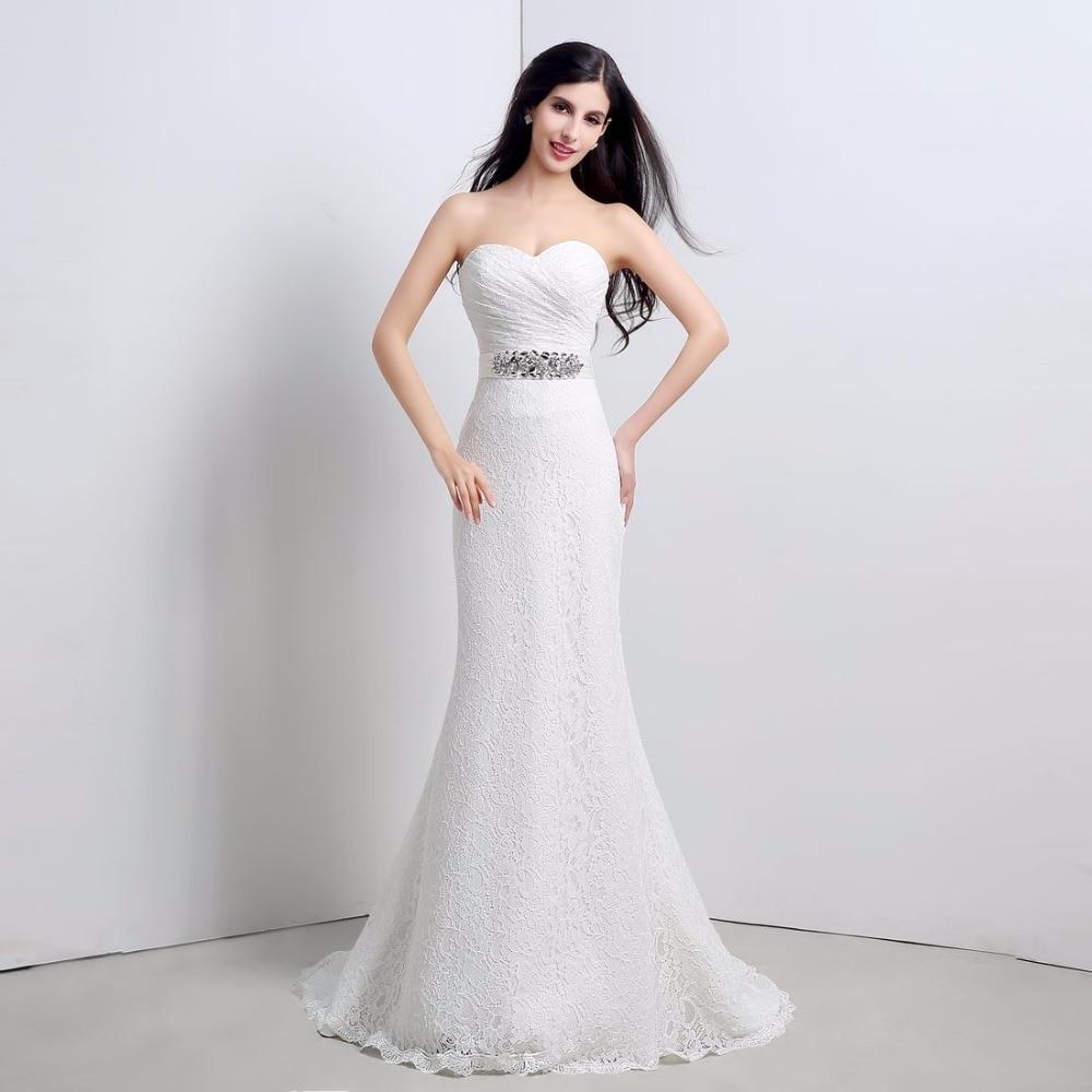 Sweetheart Mermaid Wedding Gown: In Stock Sweetheart Pleat Lace Up Back Mermaid Sweep Train