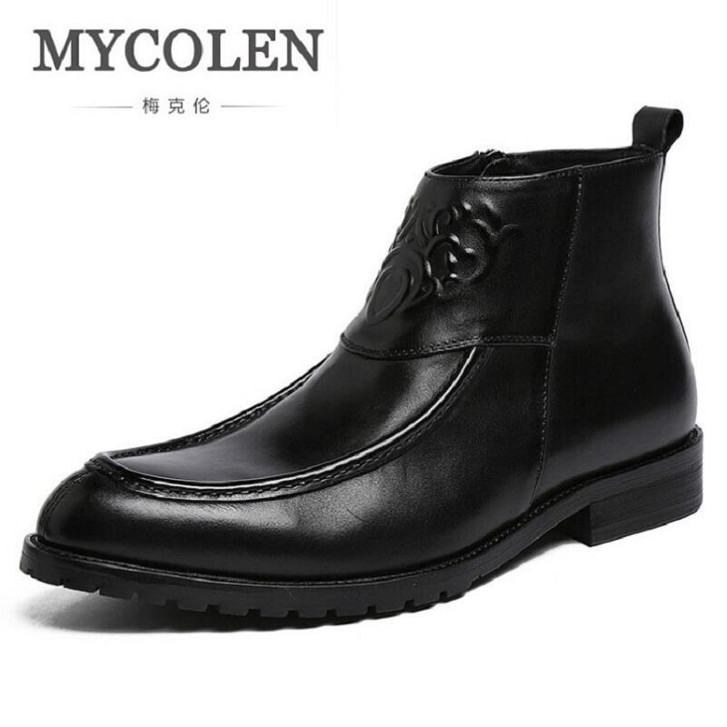 MYCOLEN Leather Shoes Men Autumn Winter Chelsea Boots Comfortable Men'S Boots Luxury Brand Fretwork Ankle Boots Erkek Bot 2017 new autumn winter british retro men shoes zipper leather breathable sneaker fashion boots men casual shoes handmade