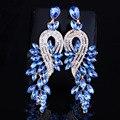 Aretes de joyería de moda de Lujo crystal hojas grandes pendientes pendientes de gota largos para las mujeres accesorio de la joyería del banquete de boda