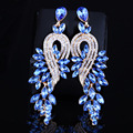 Earings fashion jewelry Luxury crystal leaf large earrings long drop earrings for women wedding party jewelry accessory