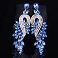 Earings fashion jewelry Luxury crystal leaf large earrings long drop earrings for women wedding party jewelry accessory