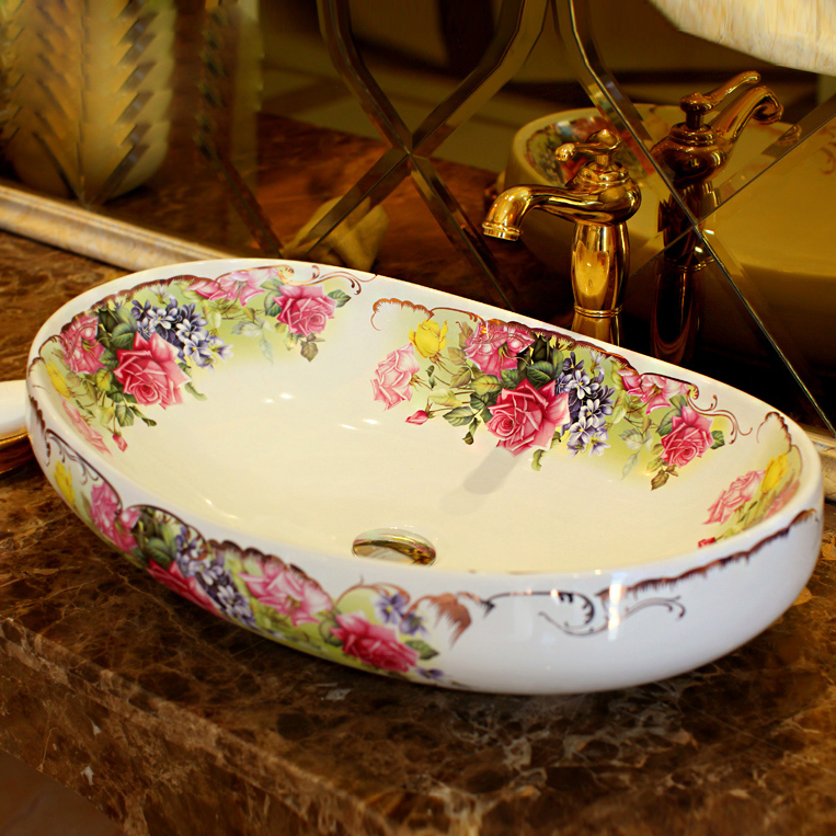ceramic elliptic shade wash basin art of flowers bathroom basins free shipping art of war