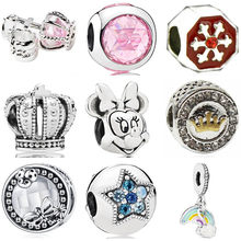 Simple Style Luxurious Bell Wing Crown Snowflake Rainbow Umbrella Mickey Beads Fit Original Pandora Charms for Women DIY Jewelry(China)