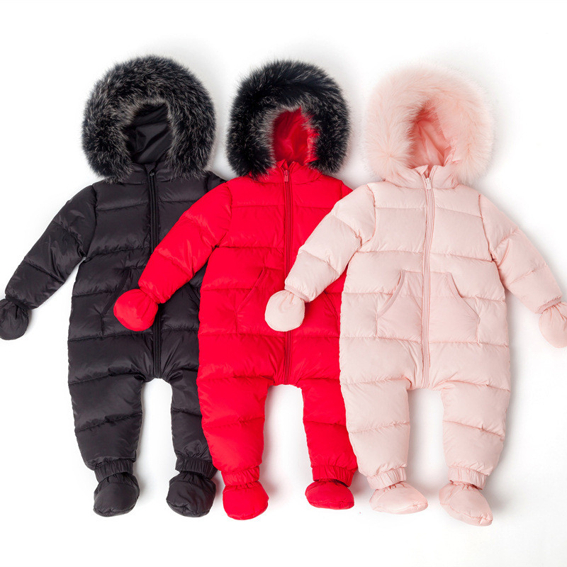 New Born Baby Boys Girls Clothes Snowsuit Winter Children Coveralls Real Collar White Duck Down Toddler Infant Snow Wear Rompers 2018 new baby rompers baby boys girls clothes turn down collar baby clothes jumpsuit long sleeve infant product solid color
