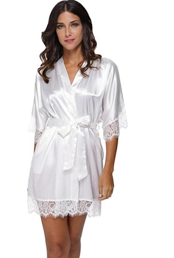 Bride Robe Lingerie Lace Kimono Short-Satin Wedding-Sleepwear Sexy Femme Women Summer