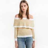 Pullover Feminino Inverno Cashmere Sweater Women Off Shoulder Ruffle Pullover Elegant Sexy Pull Noel Christmas Knitwear
