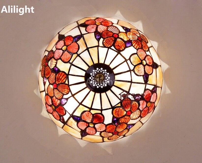 Tiffany Waratah Ceiling Light Mediterranean Pastoral Natural Shell Ceiling  Lamps Europe Bedroom Hanging Lamp Lighting Fixtures