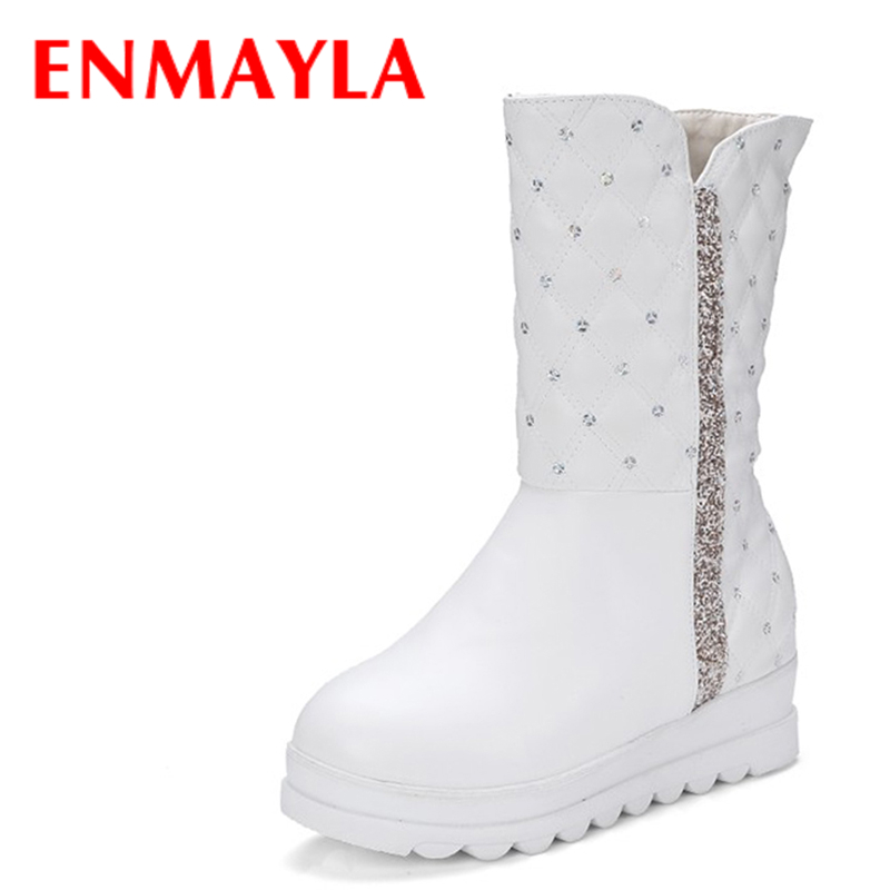 ENAMYLA Fashion Flats Platform Ladies Snow Boots Women Punk Bling Warm Fur Inside Slip-on Half Boots Winter White Shoes Woman
