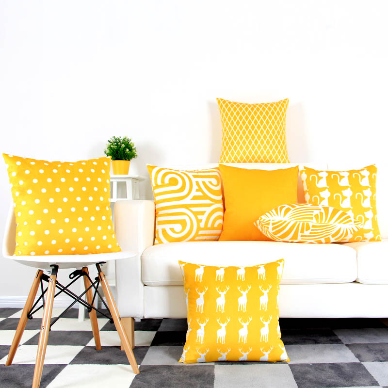 Yellow Orange Geometric Cushion Cover Supersoft Velvet