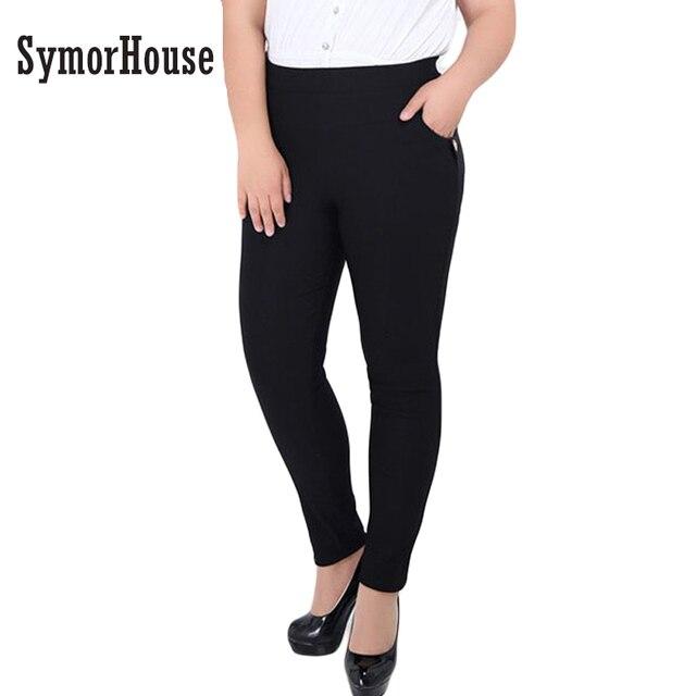 SymorHouse New Fashion Plus Size 6XL Pants for Women Casual Stretch Black Wine red High Waist Pockets Women Pencil Pants Capris