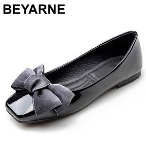 Image 1 - BEYARNENew 2019 אופנה נעלי נשים שטוח העקב רך אחת נעלי פרפר קשר אלגנטי נשים של דירות גבירותיי מותג בתוספת SizeE170
