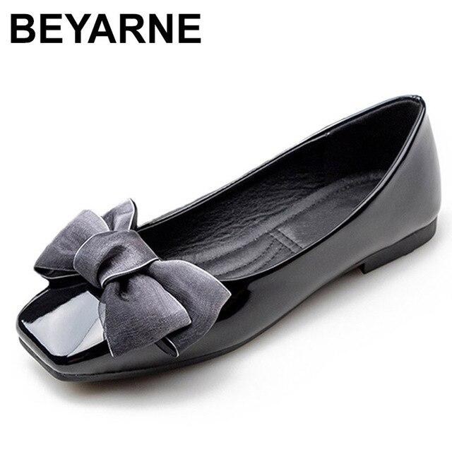 BEYARNENew 2019 אופנה נעלי נשים שטוח העקב רך אחת נעלי פרפר קשר אלגנטי נשים של דירות גבירותיי מותג בתוספת SizeE170