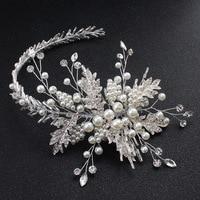 Gorgeous Handmade Wired Rhinestones Crystals Pearls Flower Wedding Tiara Headband Bridal Hair Vine Hair Accessories Bridesmaids