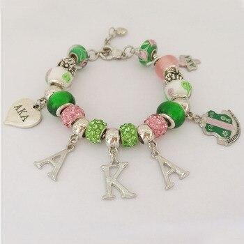 AKA letters Sorority heart charm bracelet greek custom bracelet
