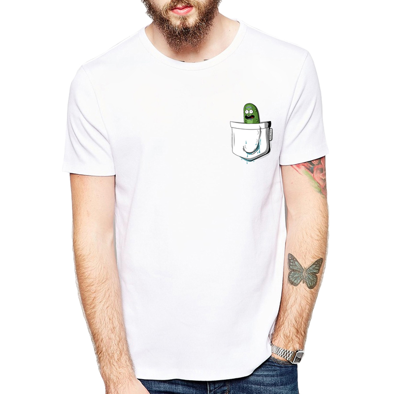 533fbf0a03 2019 Summer New Anime Cool Rick Morty Print Men TShirt Pickle Rick in the Pocket  T