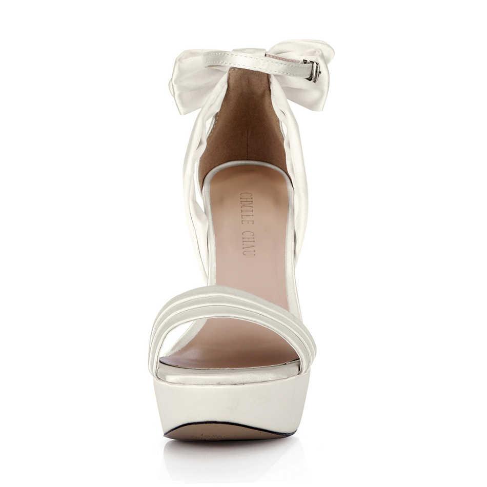 CHMILE CHAU Avorio Elegante Raso Scarpe Da Sposa Delle Donne Dello Stiletto Super High Heel Bowknot Della Piattaforma Della Signora Pompe Zapatos Mujer 3463SL-f2