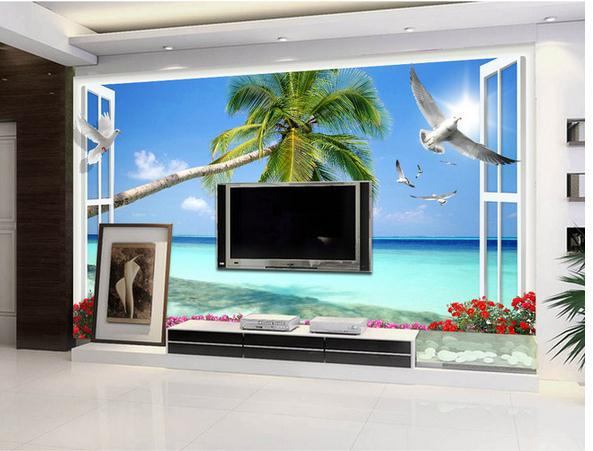 Custom 3d Photo Wallpaper Wall Murals Scenery Outside The Window Natural Clear 3 D TV Setting Decoration