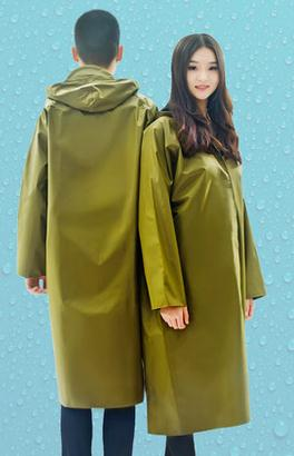 Hot selling fashion Yellow padded canvas adult conjoined long army men outdoor protective rain coat poncho qy754