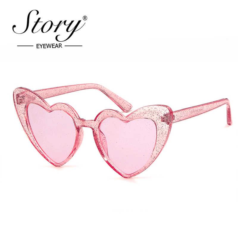 c8474102e432e STORY 2018 Fashion Crystal Lover Heart Glitter Sunglasses Women Men Brand  Designer Cateye Love Sunglasses 90S