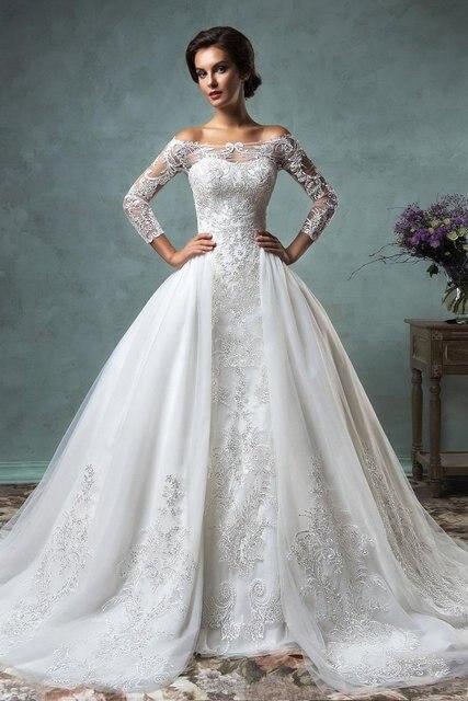 33ac6a009 2016 New Fashion Long Sleeves Wedding Dresses With Detachable Train