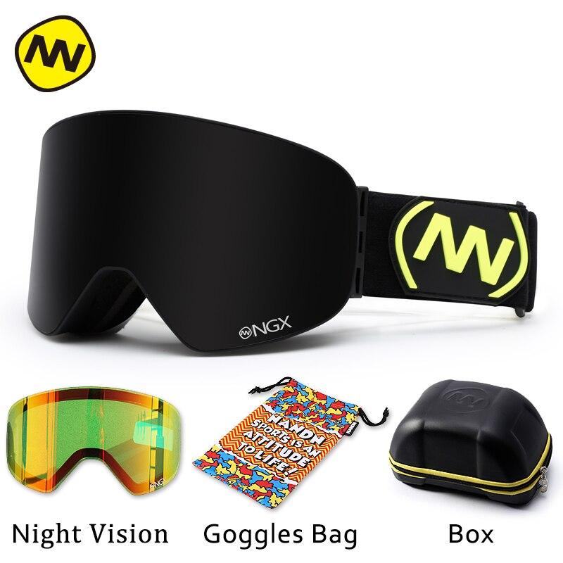 NANDN лыжные очки, очки для катания на лыжах, двойные линзы, UV400, анти туман, для взрослых, сноуборд, лыжные очки, женские, мужские, снежные очки - 3