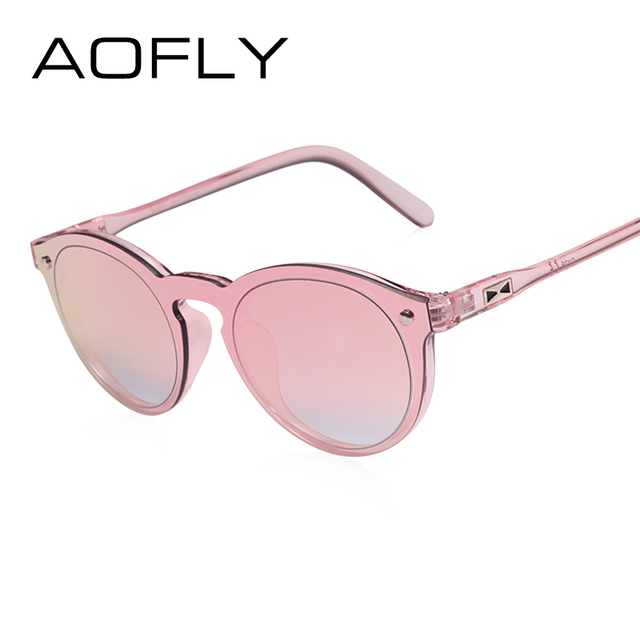 AOFLY Mulheres Homens Retro óculos de Sol Espelho Reflexivo Óculos De Sol  Oval Moda Feminina Doce 2eec887739