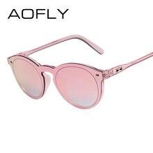 28a94ed45 AOFLY Mulheres Homens Retro óculos de Sol Espelho Reflexivo Óculos De Sol  Oval Moda Feminina Doce Cor Clara Famosa Marca Designe.