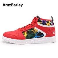 AmzBarley Hommes Chaussures High Top Plat Casual à Lacets Étudiants Hip Hop Homme Mâle En Cuir Blanc Rouge Noir Couleurs Zapatos T121904