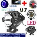 Led de la motocicleta luz de niebla del faro de conducción u7 125 w 3000lm blue angel eyes drl eléctrico moto punto lámpara de seguridad + interruptor