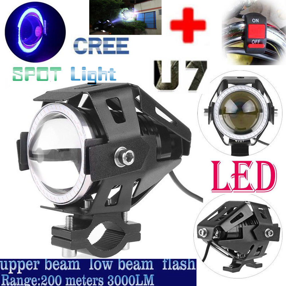 Motorcycle LED Headlight Driving Fog Light U7 125W 3000LM Blue Angel Eyes DRL Electric M ...