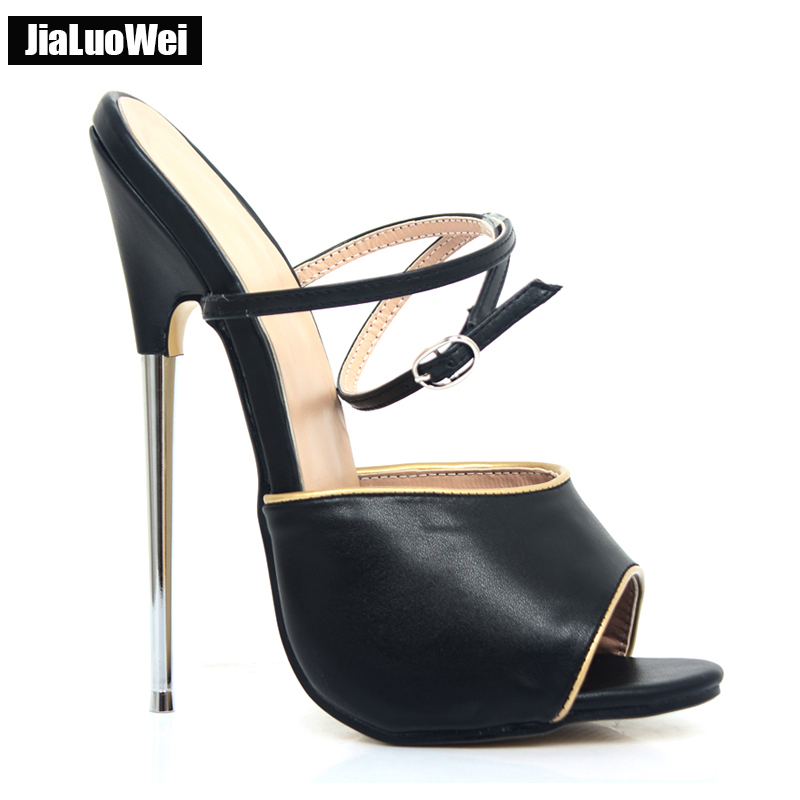 jialuowei Brand Women 2017 Summer Sexy Fetish 18CM High Heels Sandal Open-Toe Buckle Strap Mujer Dress Party Shoes Plus Size цена 2017